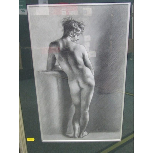 462 - NUDE, Pastel, nude of standing young lady, 16