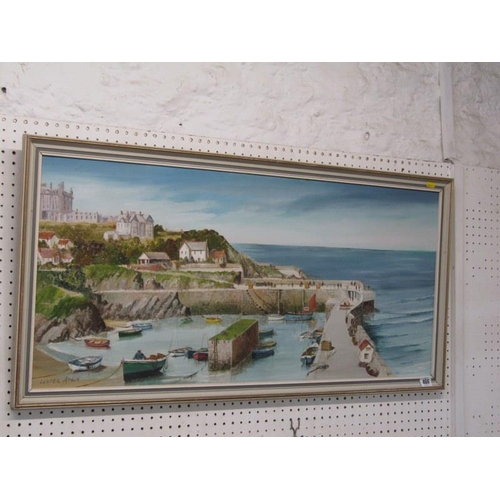 466 - NEWQUAY, Lester Atack signed oil on board 'Newquay Harbour' 16