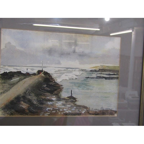 470 - AUBREY GREGORY, 2 Signed water colours 'January Sea' and 'North Cornwall Winter Landscape' 8