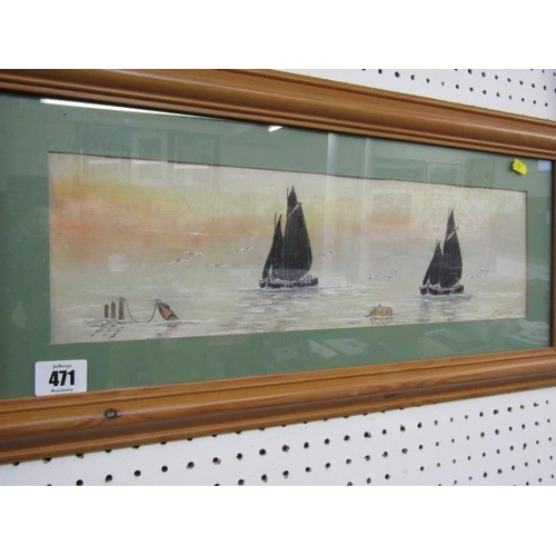 471 - C. J. SMITH, Signed pastel dated 98' 'Fishing Boats at Sunset' 5