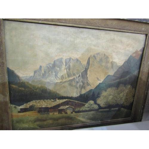 472 - EUROPEAN SCHOOL, Signed oil on board 'Mountain Chalet' 19