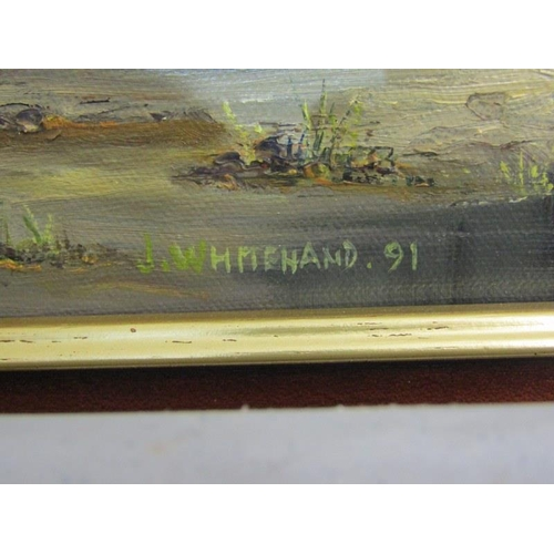 473 - J. WHITEHAND, Signed painting on canvas 'The Artist Cottage, Boscastle' 17.5