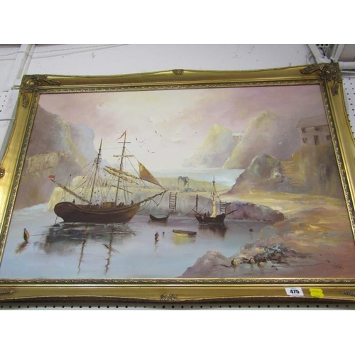 475 - VASHTI, Signed painting on canvas 'The Harbour' 19.5