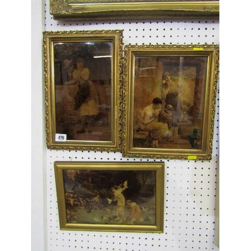 476 - CRYSTOLEUMS, A collection of 3 gilt framed crystoleums 'The Decorator', 'Feeding the Birds' and 'A c...