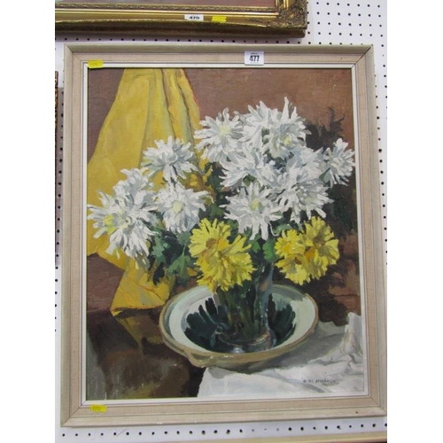 477 - VICTORY HARVEY, Signed oil on board 'Still Life Vase of Flowers' 20