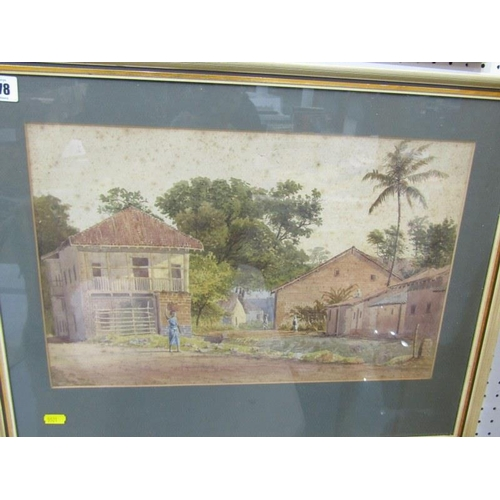 478 - EASTERN SCHOOL, unsigned water colour, 'The Village' 11