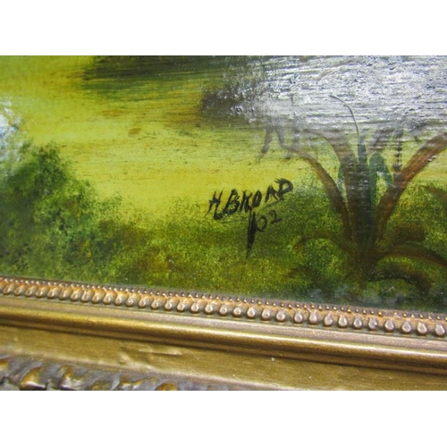 479 - H. BROAD, A pair of signed oils on board 'Primitive Riverscapes' 9.5