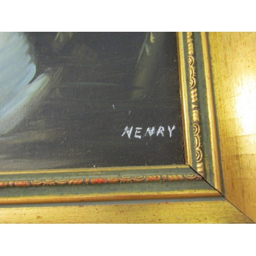487 - HENRY, Signed painting on canvas 'Lady Feeding the Swans' 19