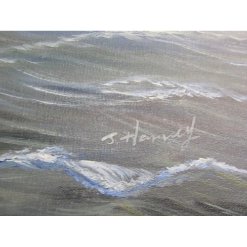 488 - J. HARVEY, Signed painting on canvas 'The Sea Battle' 23.5