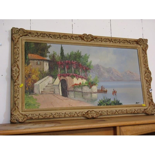 489 - CONTINENTAL SCHOOL, Signed painting on canvas 'Lakeside Villa' 6