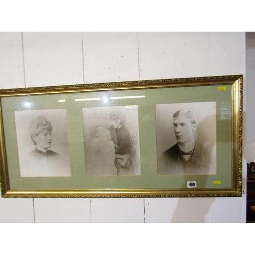 490 - PORTRAITS, Set of 3 Edwardian photographic portraits framed as one - charity...