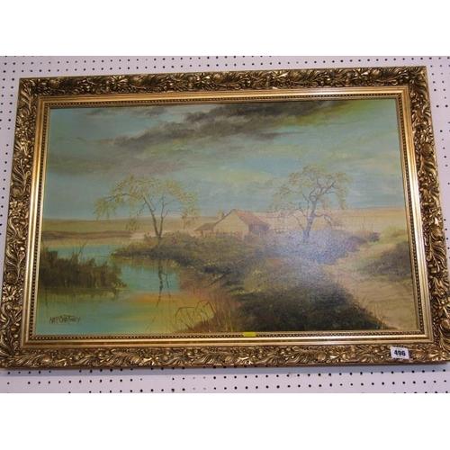 496 - McCARTNEY, Signed oil on board 'Riverside Cottage' 18