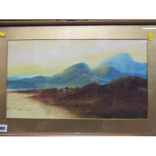 497 - EDWARDIAN PAINTINGS, A pair of gilt framed oil on boards 'Highland Riverscapes' 10