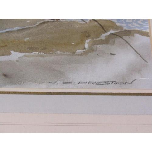 498 - NORMAN PRESTON, Signed water colour 'Cotehele Quay' 14