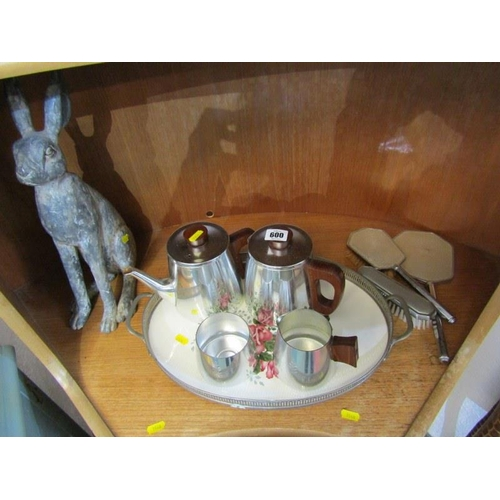 600 - RETRO TEA SERVICE, dressing tableware, hare sculpture & twin handled oval tray...