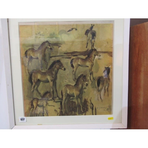 637 - A. MUNNINGS, Colour print 'Studies of Foal' by Frost & Reed. 15