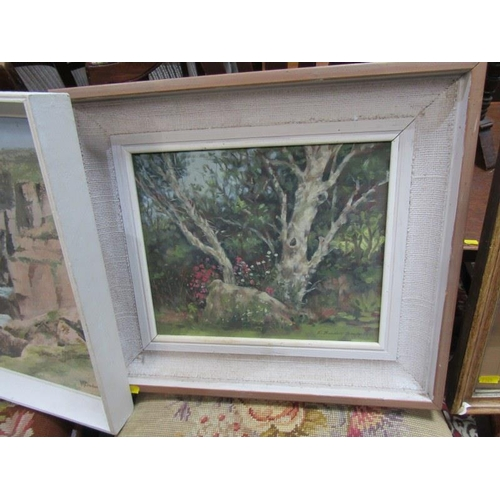 648b - E BENDELL-BAYLY, Signed oil on board 'Tree & floral study', M Badenoch oil on board 'Seascape' also ...