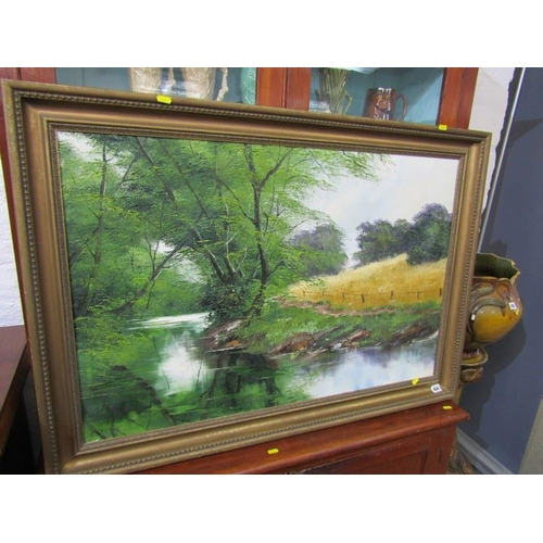 654 - OIL ON CANVAS, 'The River Bank', 23