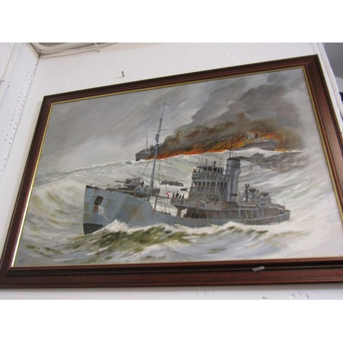 616b - RITCHIE, Oil on canvas 'Naval Rescue', 21