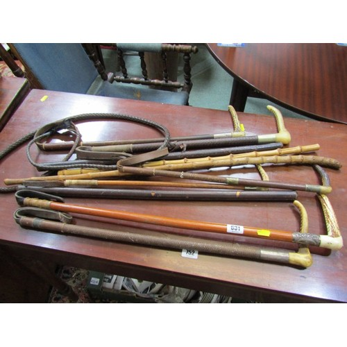 631 - EQUESTRIAN, A collection of 5 antler handled riding crops some with silver ferrules, antler handled ...