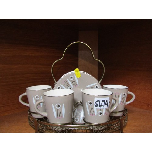 647a - RETRO, a Palissy retro coffee set on plated stand, Con Tiki pattern...