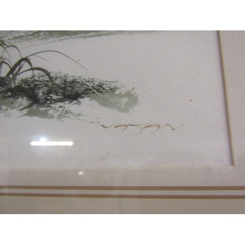 717 - SIGNED WATER COLOUR, A boat beached in a cove, 11