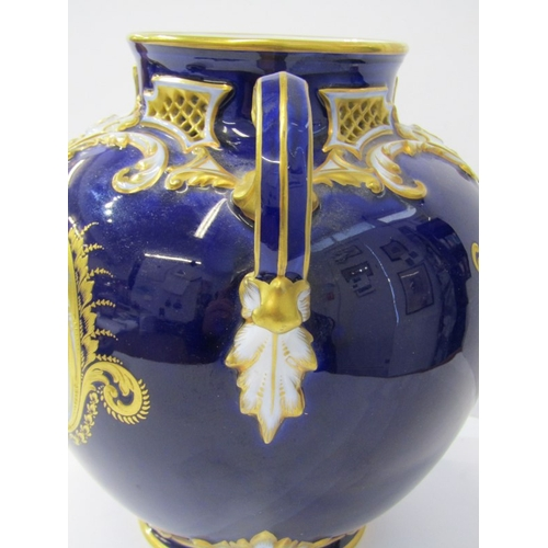 13 - ROYAL WORCESTER, pot pourri vase, gilded Royal Blue ground twin handled and lidded vase, decorated r...
