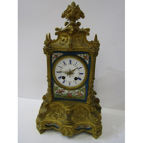 133 - FRENCH ORMOLU MANTEL CLOCK, By Raingo Freres, inset Sevres style bird and floral painted panels, bel...