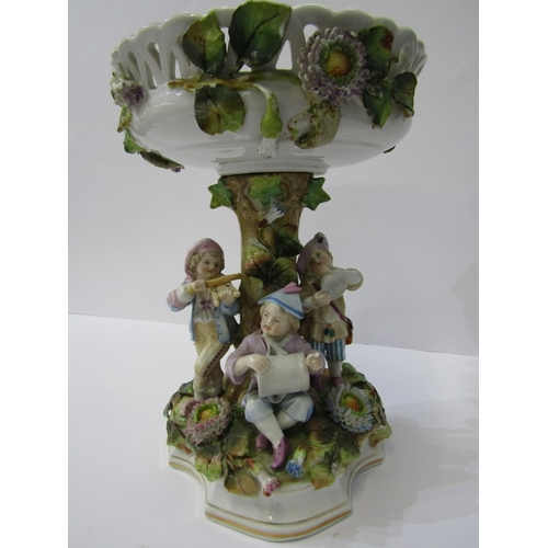 14 - CONTINENTAL PORCELAIN, Thuringian-style figure based comport, floral encrusted with child musician b...