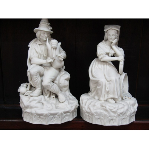 15 - PARIAN, pair of 19th Century Continental Parian figures