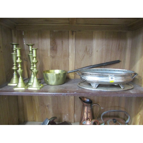 161 - METALWARE, 2 pairs of brass square base multi knop candle sticks, 11