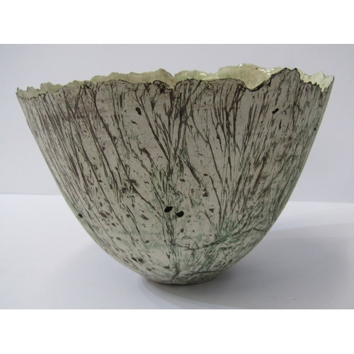 17 - STUDIO POTTERY, Alison Morsby sculptured pottery fruit bowl, 8