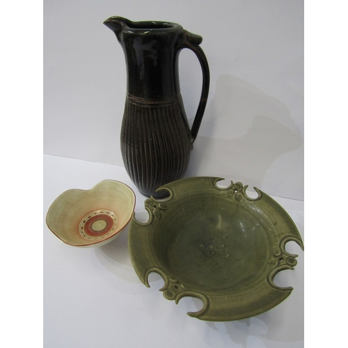 19 - STUDIO POTTERY, Mary Rich- style gilded small bowl, also small tenmoku glazed ewer jug and shaped ce...