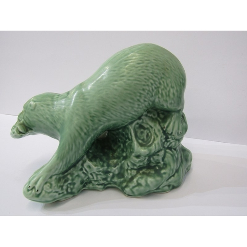2 - SYLVAC, green glazed Otter, mould no 3459, 7.5
