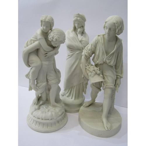 20 - PARIAN, collection of 3 Victorian Continental Parian figures of Harvester, Boy giving Young Girl a p...
