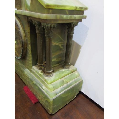 226 - CLOCK GARNITURE, green onyx 3 piece clock garniture, open brocot escapement with temple design clock...