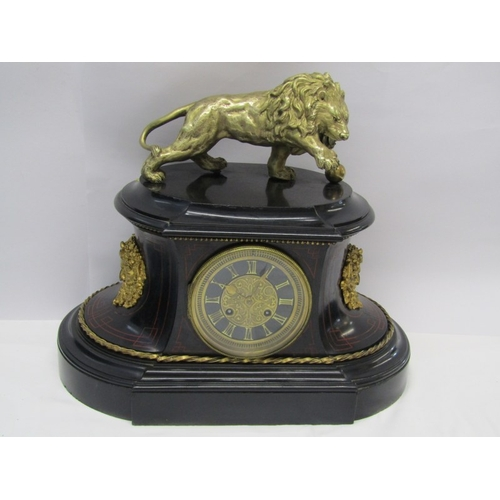 231 - VICTORIAN MANTEL CLOCK, black marble lion crested mantel clock with French striking movement signed ...