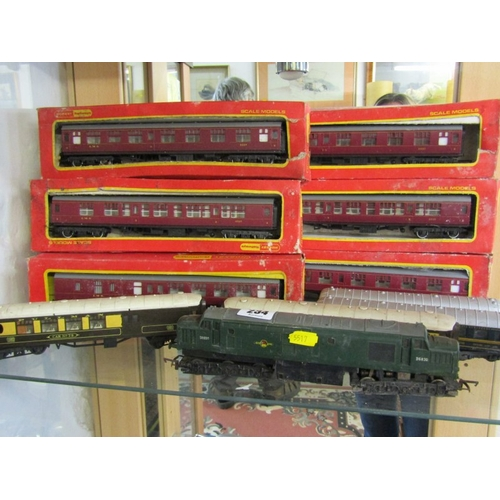 234 - MODEL RAILWAY, OO guage Triang British Railways diesel locomotive, together with 10 assorted Hornby ...