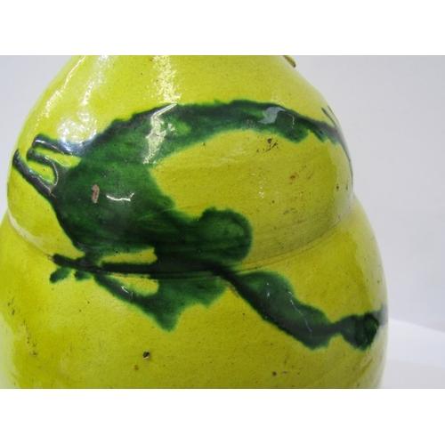 24 - TURKISH POTTERY, pair of yellow slip glaze 12