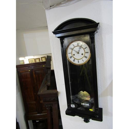 251 - REGULATOR CLOCK, ebonised case narrow bodied regulator clock with enamelled face, 33
