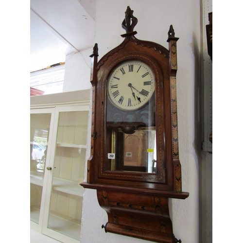 252 - VICTORIAN PARQUETRY WALL CLOCK, walnut straw work decoration and arch top wall clock, 39