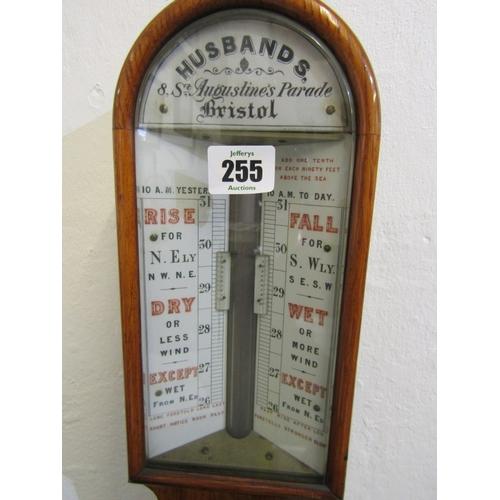255 - VICTORIAN BAROMETER, oak case mercury stick barometer by Husbands of Bristol, 38