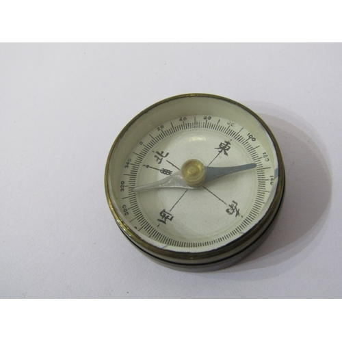268 - ANTIQUE POCKET BAROMETER, with mother-of-pearl reverse compass, together with Japanese pocket compas...