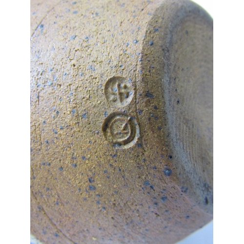 28 - BERNARD LEACH POTTERY, glazed stonware teapot by Kenneth Quick, with cane handle and simple brushwor...
