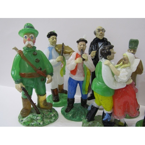 34 - CZECHOSLOVAKIAN GLASS, an interesting collection of 8 coloured glass figures depicting village music...