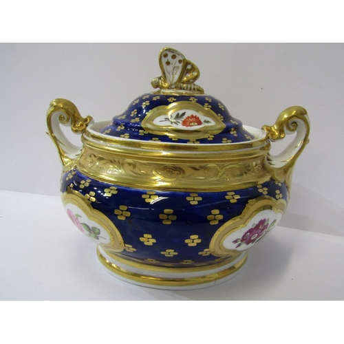 36 - REGENCY RIDGWAY, gilded porcelain tea service, Royal Blue ground with reserves of floral sprays, con...