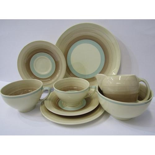 37 - SUSIE COOPER, brown banded tea service of cream jug, sugar bowl, bread plate, 5 small cup trios, 2 l...