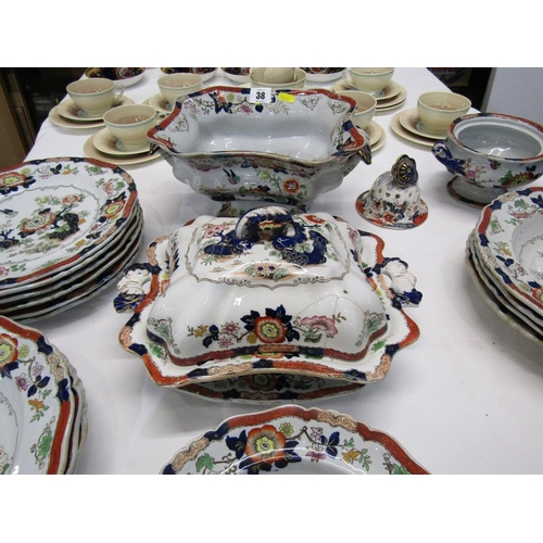 38 - VICTORIAN IRONSTONE, collection of matched coloured ironstone tableware including Masons octagonal s...