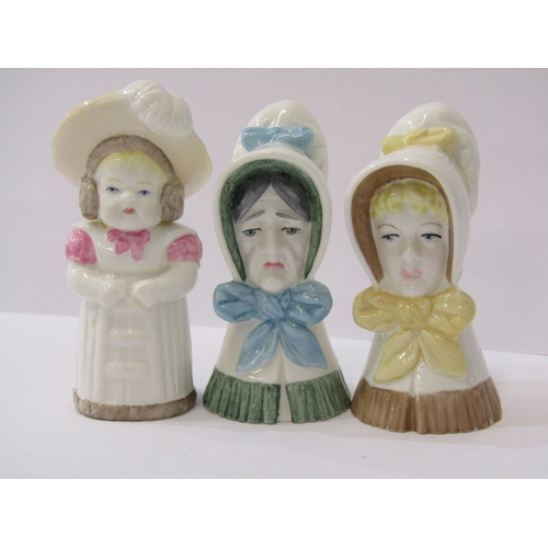 47 - ROYAL WORCESTER CANDLE SNUFFERS, collection of 3 snuffers of