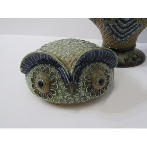 5 - DOULTON LAMBETH OWL, novelty Owl lidded jar, dated 1883, signed